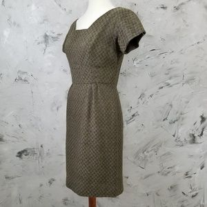 VINTAGE 60's Hand Tailored Brown Sheath Day Dress